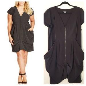 City Chic Large 20W Black Zip Front Tunic Dress